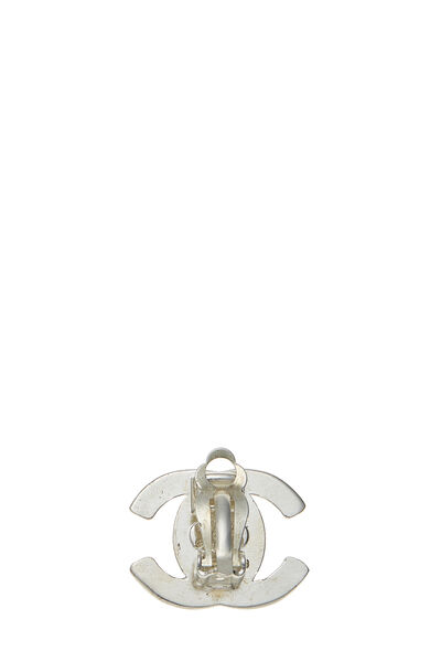 Silver 'CC' Turnlock Earrings Small, , large