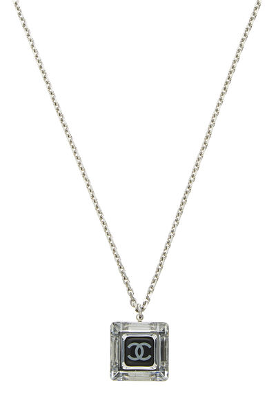 Silver & Black Crystal Acrylic Necklace, , large