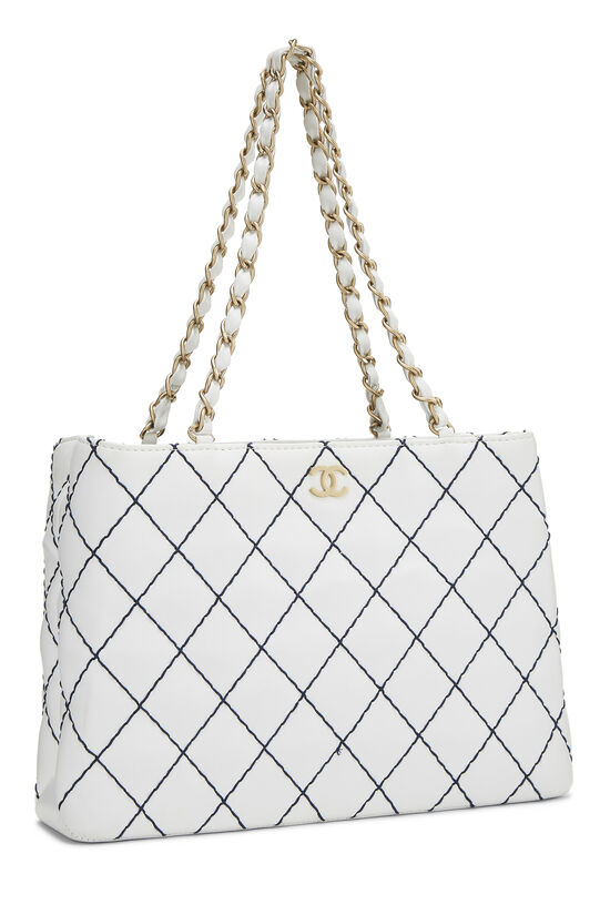 White Calfskin Wild Stitch Tote, , large image number 1