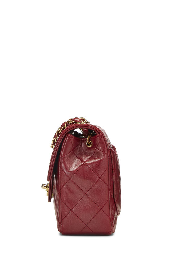 Red Quilted Lambskin Half Flap Mini, , large image number 2