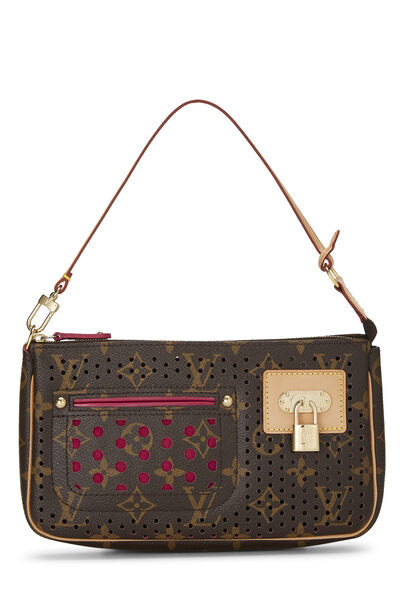 Limited Edition Pink Monogram Perforated Pochette Accessoires