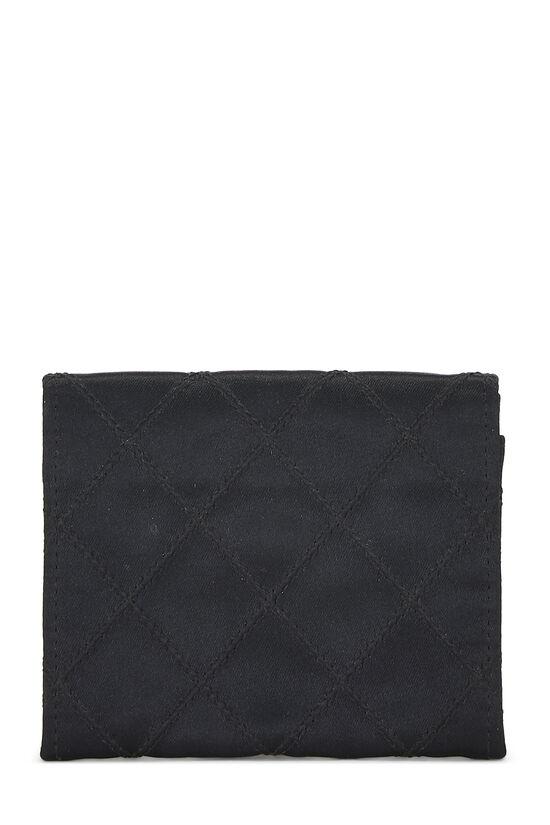 Black Quilted Satin Card Holder, , large image number 2