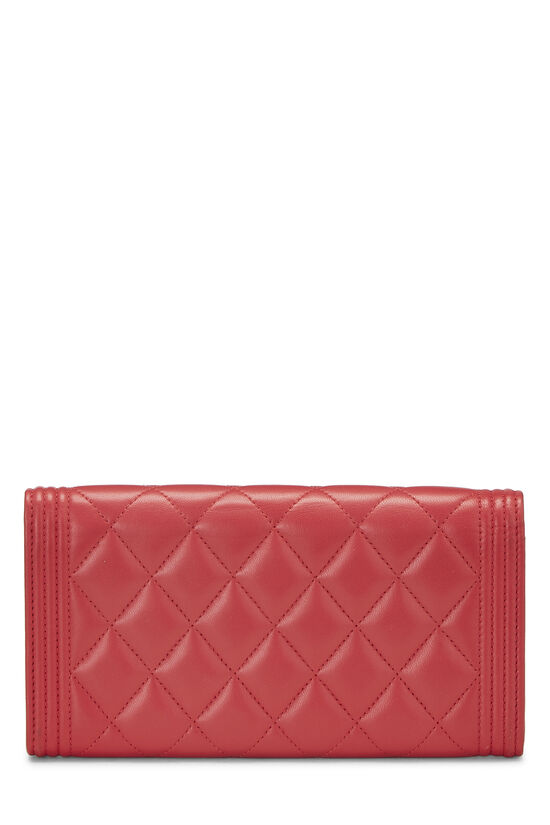 Red Quilted Lambskin Boy Wallet, , large image number 2