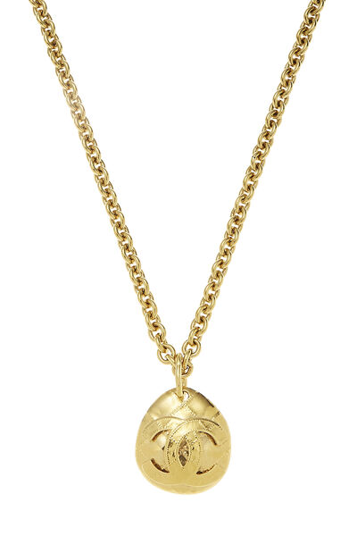 Gold Quilted 'CC' Necklace Long, , large