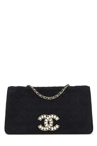 Black Quilted Suede Embellished 'CC' Clutch