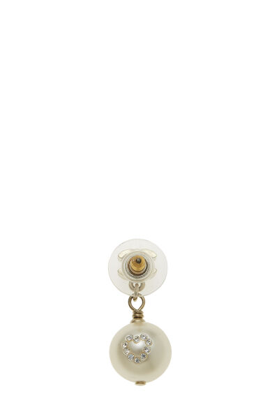 Gold 'CC' & Faux Pearl Dangle Earrings Small, , large