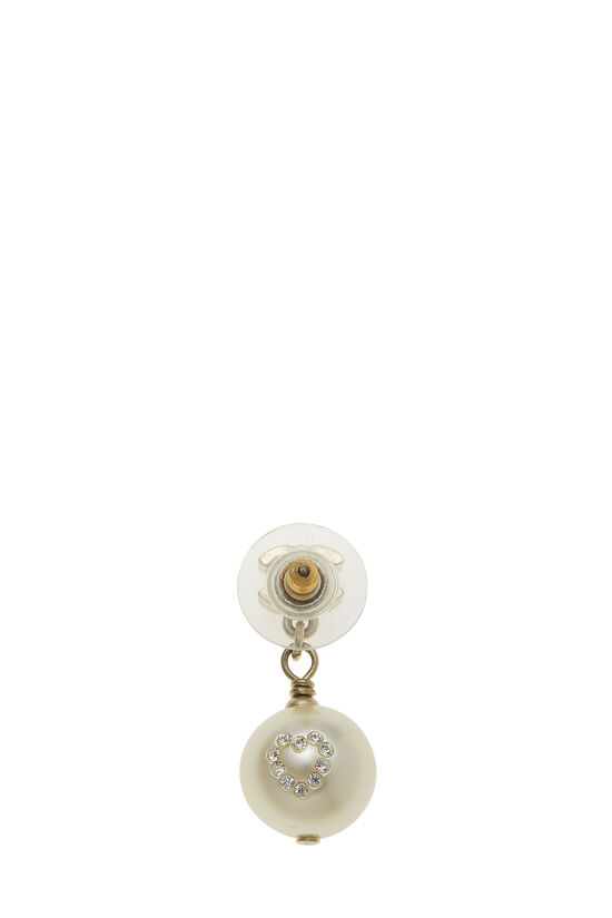 Gold 'CC' & Faux Pearl Dangle Earrings Small, , large image number 1