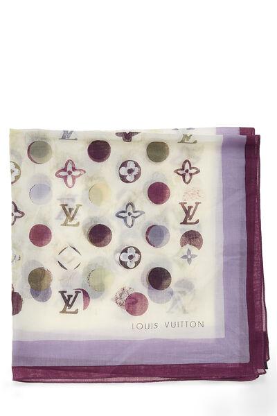 Purple Cotton Monogram Dots Bandana, , large
