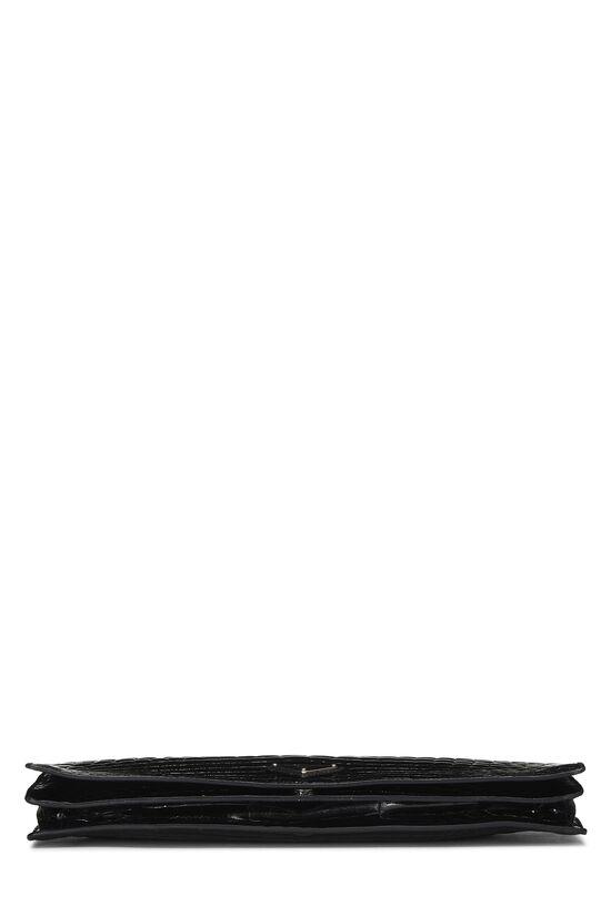 Black Crocodile Embossed Long Clutch, , large image number 4