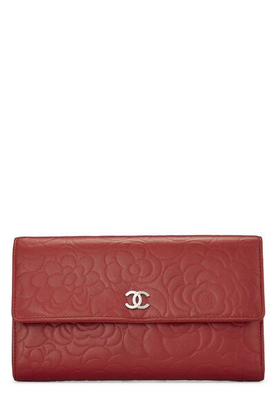 Red Camellia Lambskin Organizer Wallet