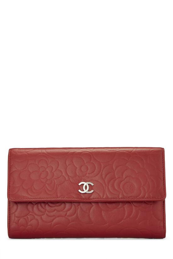 Red Camellia Lambskin Organizer Wallet, , large image number 0