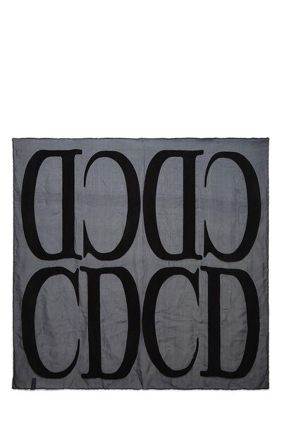 Navy Sheer Silk & Velvet Logo Scarf