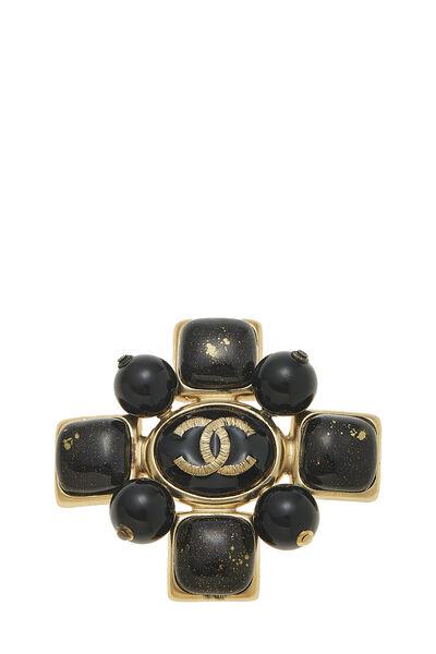Gold & Black Gripoix Cross Pin