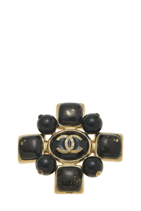 Gold & Black Gripoix Cross Pin, , large image number 0