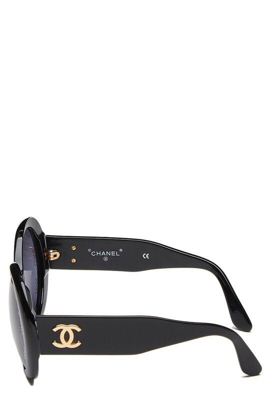 Black Acrylic Round Sunglasses, , large image number 3