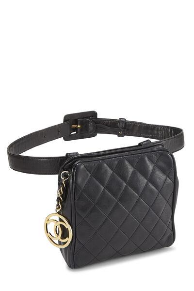 Black Quilted Lambskin Belt Bag 30, , large