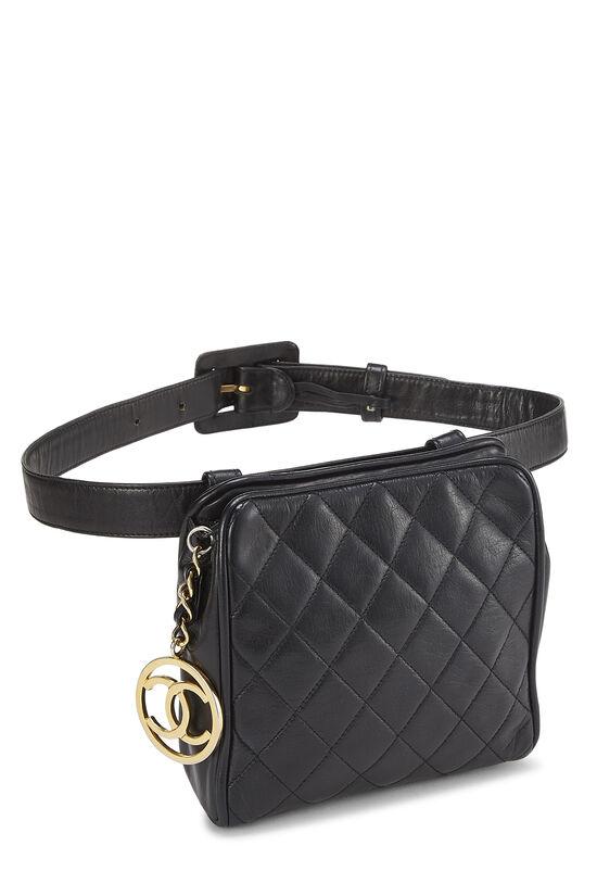 Black Quilted Lambskin Belt Bag 30, , large image number 1