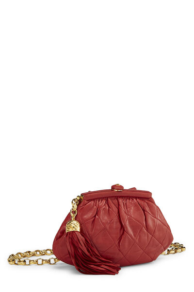 Red Quilted Lambskin Kiss Lock Belt Bag, , large
