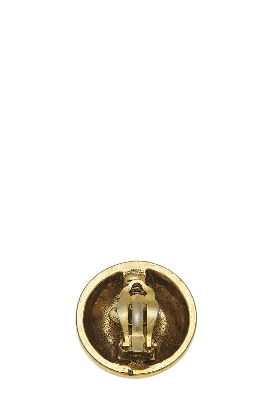 Gold Crystal 'CC' Button Earrings, , large image number 0