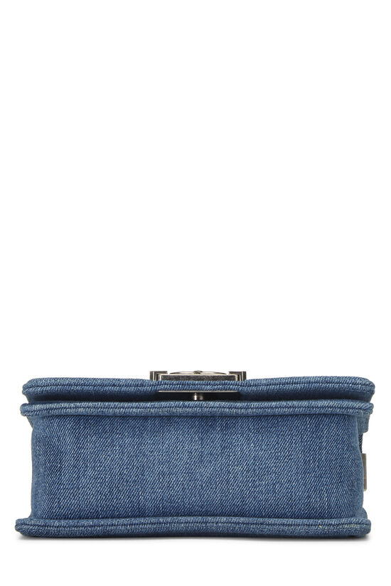 Blue Quilted Denim Boy Bag Small, , large image number 5