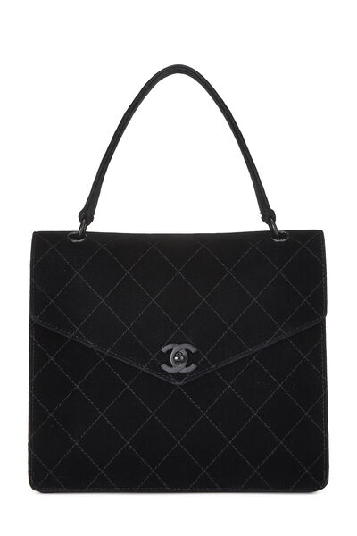 So Black Quilted Velour Handle Bag