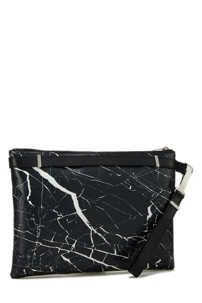 Black & White Marble Leather Phileas Clutch, , large