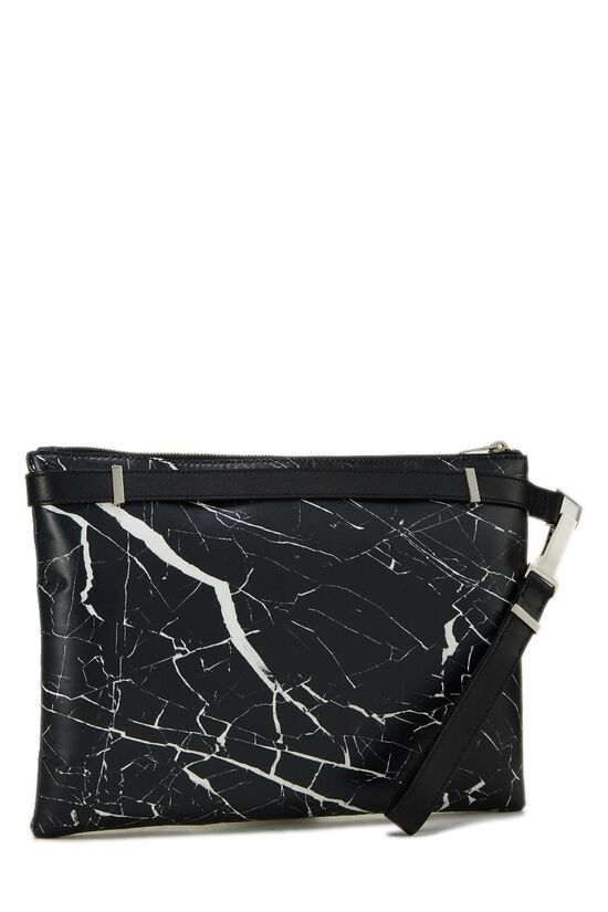 Black & White Marble Leather Phileas Clutch, , large image number 1