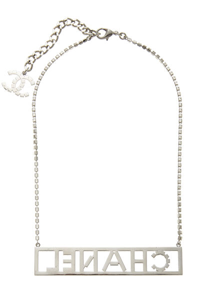 Silver Crystal Nameplate Necklace, , large