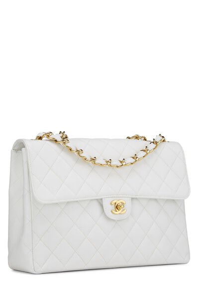 White Quilted Caviar Half Flap Jumbo, , large