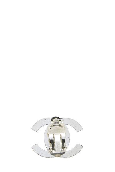 Silver & Crystal 'CC' Turnlock Earrings Medium, , large