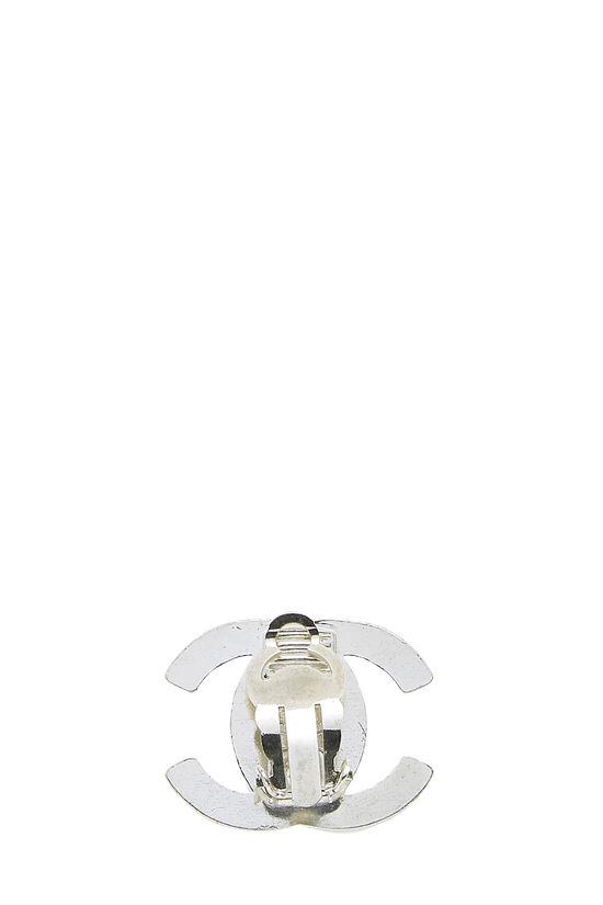 Silver & Crystal 'CC' Turnlock Earrings Medium, , large image number 1