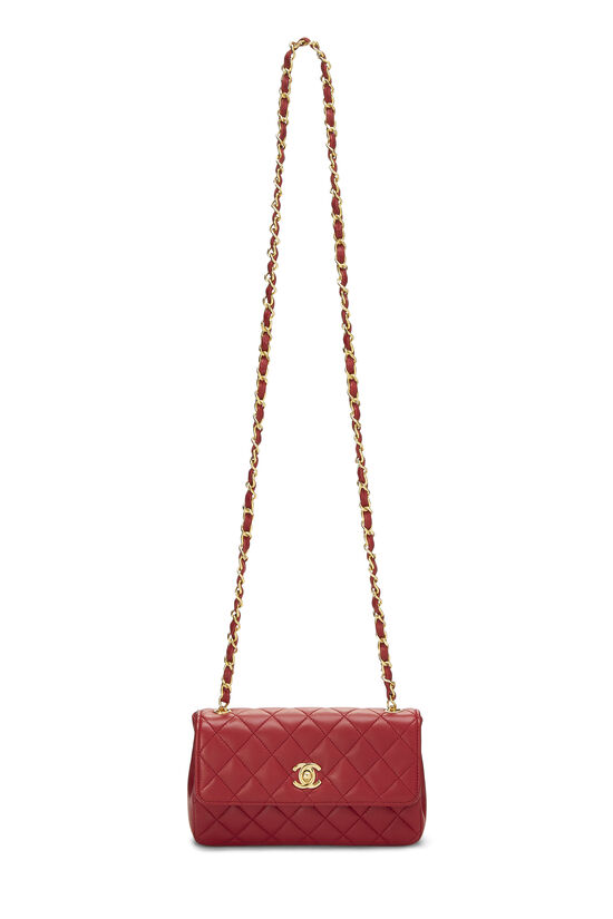Red Quilted Lambskin Half Flap Mini, , large image number 6