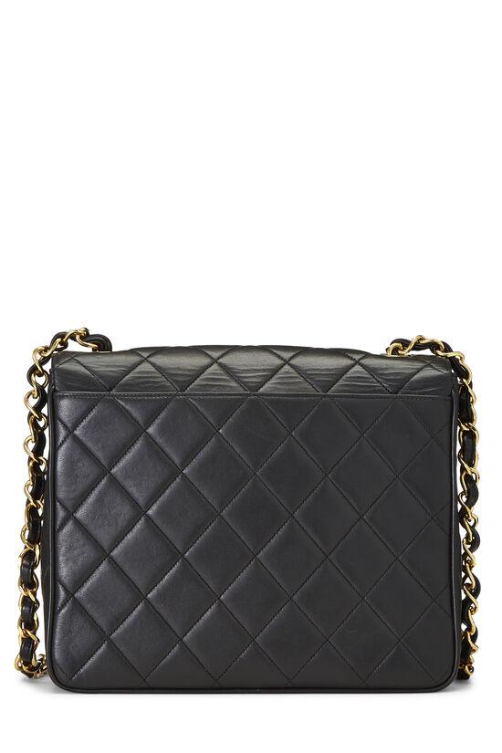 Black Quilted Lambskin 'CC' Square Shoulder Bag, , large image number 4