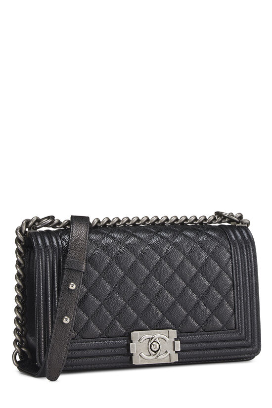 Black Quilted Caviar Boy Bag Medium, , large image number 1