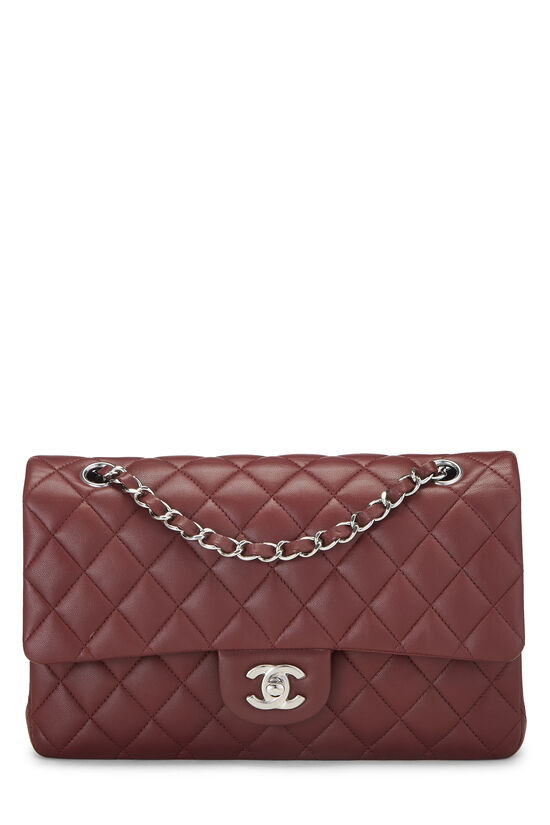 Burgundy Quilted Lambskin Classic Double Flap Medium, , large image number 0