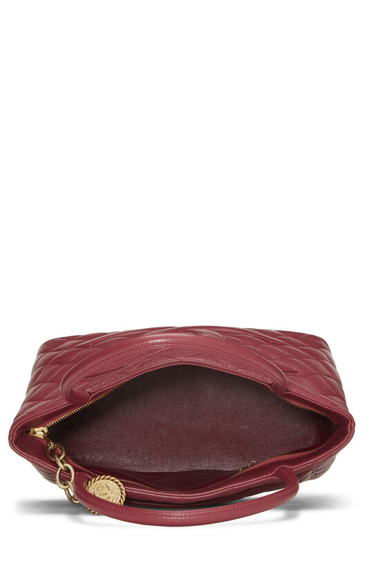 Burgundy Quilted Caviar Medallion Tote, , large image number 5