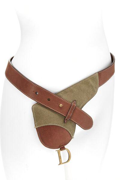 Brown Leather & Olive Canvas Saddle Belt Bag 90, , large