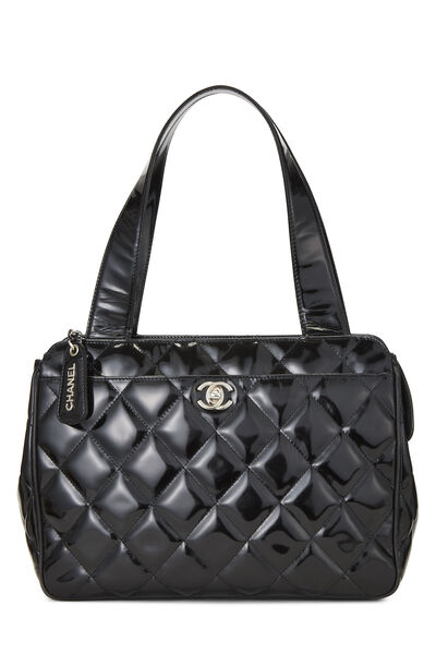 Black Quilted Patent Leather Tote Small