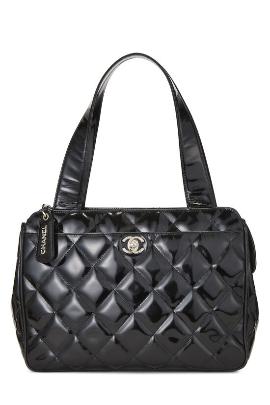 Black Quilted Patent Leather Tote Small, , large image number 0