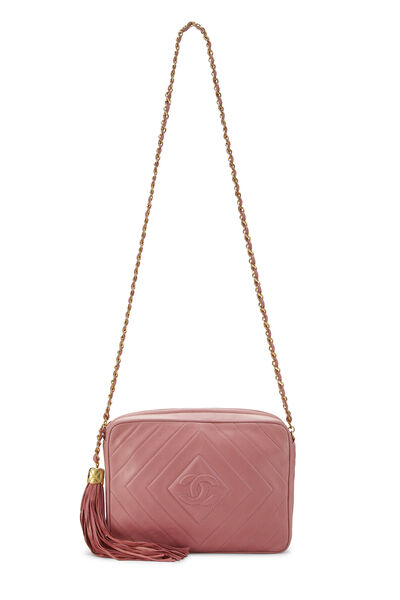 Pink Lambskin Diamond CC Camera Bag Medium, , large
