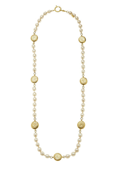Gold Coin & Faux Pearl Necklace