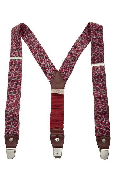 Red Silk Motif Suspenders
