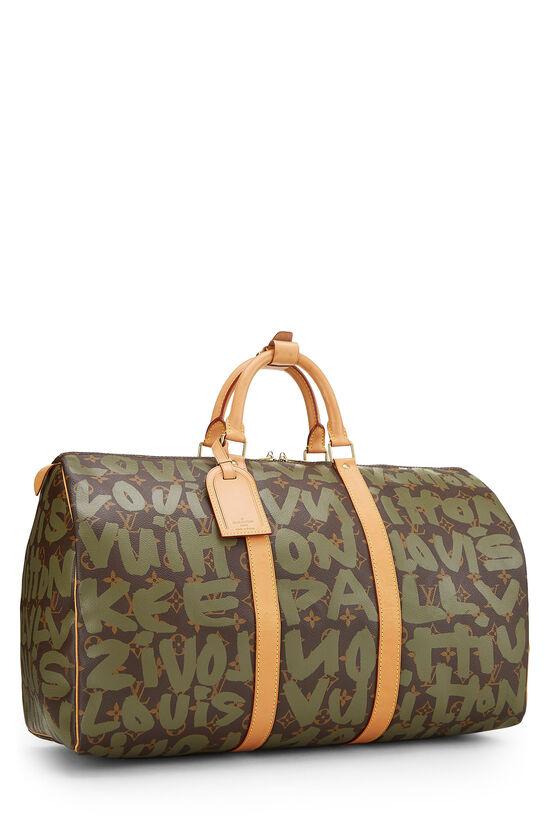 Stephen Sprouse x Louis Vuitton Green Monogram Graffiti Keepall 50, , large image number 1