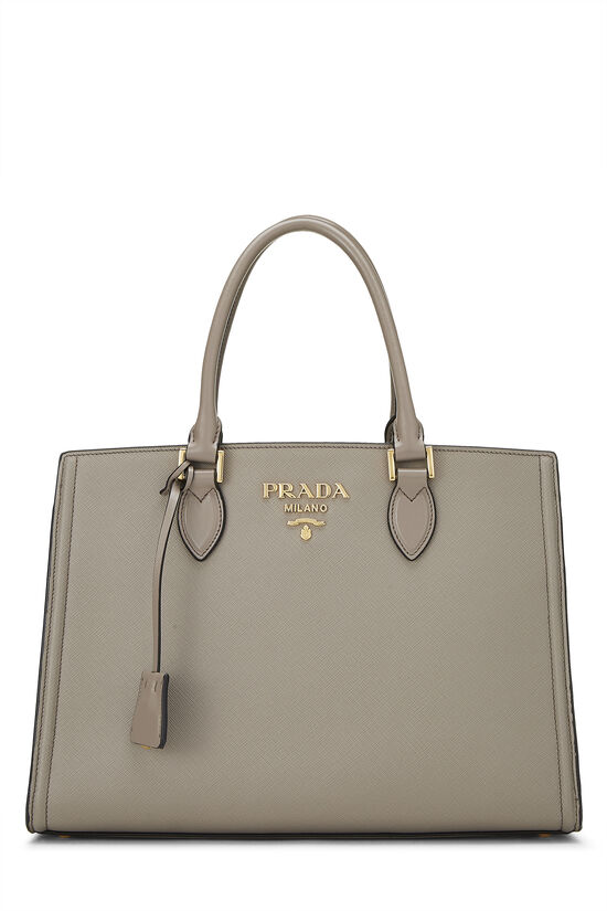 Grey Saffiano Leather Tote, , large image number 0