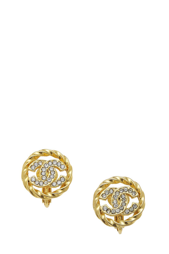 Gold & Crystal 'CC' Circle Earrings Small, , large image number 0
