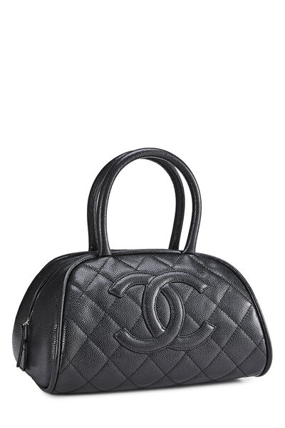 Black Quilted Caviar Bowler Small, , large