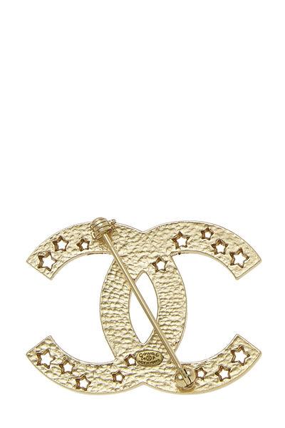 Gold 'CC' Star Cutout Pin, , large