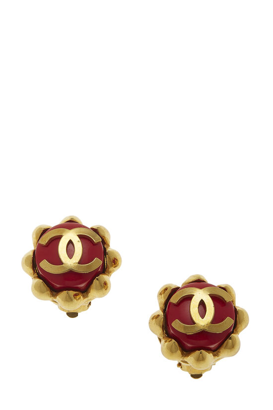Gold & Red Oversize 'CC' Earrings, , large image number 0