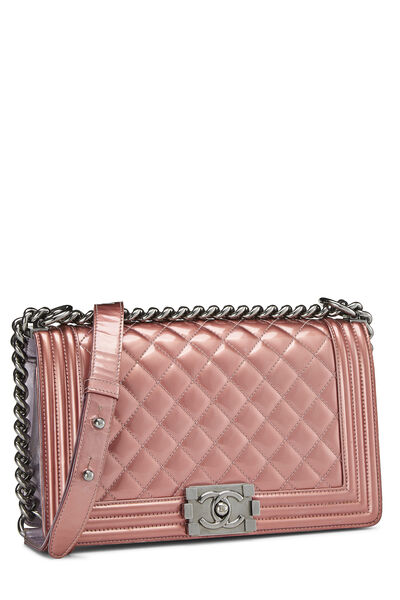 Pink Quilted Patent Leather Boy Bag Medium