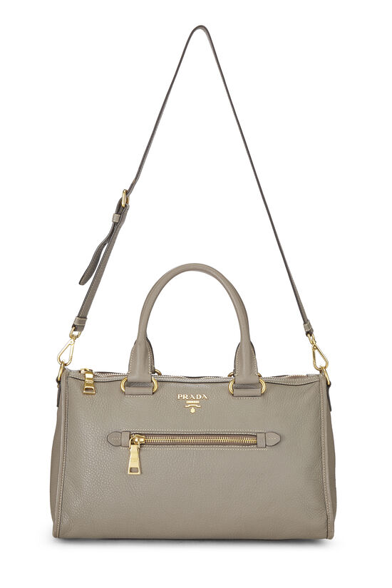 Grey Vitello Daino Boston Bag, , large image number 6